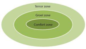 Gráfico: zona de confort, zona de crecimiento, zona de 'terror' (o mágica)